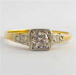 18ct yellow gold and platinum vintage solitaire diamond ring
