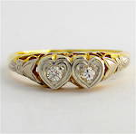 18ct yellow gold and platinum vintage heart shaped style two stone diamond ring