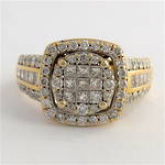 14ct yellow and white gold 1.50ct total multi diamond set ring