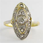 18ct yellow gold and platinum antique diamond ring