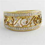 9ct yellow and white gold patterned open band multi diamond set ring