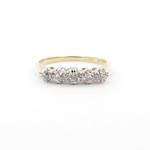 18ct yellow gold and platinum 5 x diamond set ring