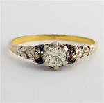 18ct yellow gold/plat vintage diamond solitaire