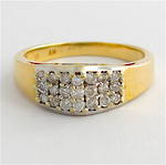 14ct yellow gold multi diamond ring