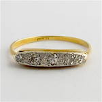 18ct yellow gold and platinum vintage diamond ring