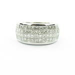 18ct white gold four row multi diamond set ring
