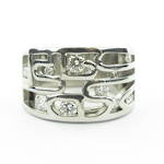 18ct white gold large open band multi diamond set ring