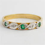 9ct yellow & white gold emerald and diamond eternity band