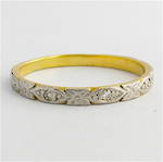 18ct yellow gold and platinum patterned diamond band