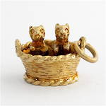 9ct yellow gold Puppies in a basket charm