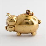 9ct yellow gold Pig charm