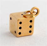 9ct yellow gold dice charm