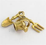 9ct yellow gold gardening tools charm