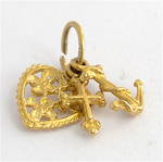 9ct yellow gold filigree faith, hope and charity charm