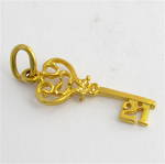 18ct yellow gold 21st key charm