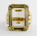 9ct yellow gold large smokey quartz dress ring