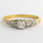 18ct yellow gold/platinum and palladium vintage diamond solitaire ring