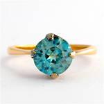 9ct rose gold blue zircon ring