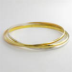 18ct tri-tonal russian wedding style bangle