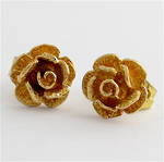 9ct yellow gold rose motif stud earrings