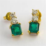 18ct yellow gold natural emerald and diamond drop earrings