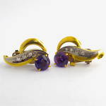 9ct yellow and white gold amethyst and diamond clip on earrings