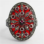Sterling silver ruby and red enamel and marcasite ring
