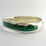 Sterling silver solid hinged malachite set bangle