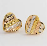 18ct tri-tonal heart shaped stud earrings