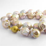 Purple/gold baroque freshwater pearl necklace with 14ct yellow gold clasp