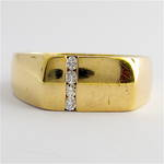 9ct yellow gold and diamond set Gent's dress ring