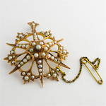 9ct yellow gold antique seed pearl brooch/pendant
