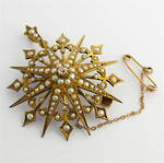 15ct yellow gold antique seed pearl and old mine cut diamond brooch/pendant