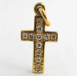 9ct yellow gold diamond cross charm