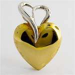 9ct yellow & white gold puffy heart charm