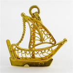 21ct yellow gold filigree sailing boat charm