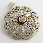 18ct yellow gold & rhodium plated antique style diamond and ruby brooch/pendant