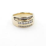 18ct yellow gold diamond set dome style ring