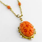 9ct yellow gold coral and seed pearl pendant on coral bead set chain