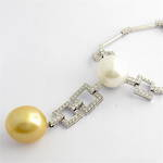 18ct white gold diamond and pearl set necklet