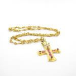 18ct yellow gold cross (set with diamonds,pink sapphires and rubies) with 18ct yellow gold chain