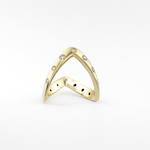 9ct yellow gold zig-zag diamond set ring