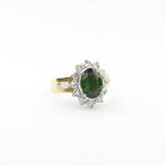 18ct yellow and white gold green tourmaline and diamond cluster ring