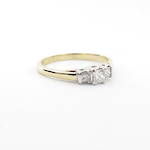 18ct yellow and white gold three stone diamond set ring