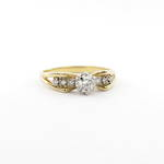 18ct yellow gold and palladium vintage diamond ring with shoulder diamonds
