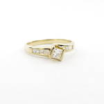 18ct yellow gold diamond solitaire (princess cut) ring with shoulder diamonds