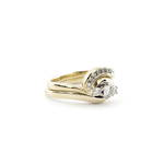 Set of x2 9ct yellow gold diamond rings
