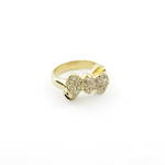 18ct yellow gold diamond set bow style ring