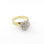 18ct yellow and white gold flower style diamond cluster ring