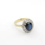 18ct yellow and white gold sapphire and diamond set cluster ring